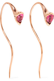 Sprout 18-karat rose gold, tourmaline and diamond earrings