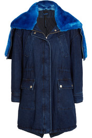 Faux fur-trimmed denim parka