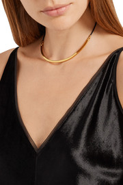 Abbott leather and gold-plated necklace