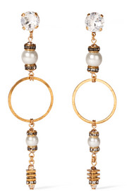 Future Shock gold-plated, faux pearl and crystal earrings