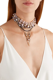 Accidental Tourist gold-plated, faux pearl and crystal choker