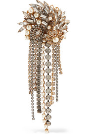 Hunger gold-plated, faux pearl and crystal brooch