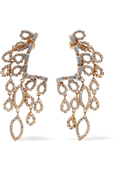 Erickson Beamon - Princess Gold-plated Crystal Earrings - one size