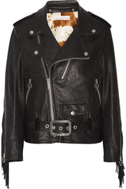 Chiodo faux fur-lined leather biker jacket