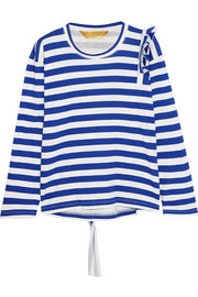 Tammy Jo ruffled striped cotton-jersey top