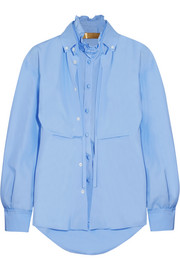 Deborah layered cotton-poplin shirt