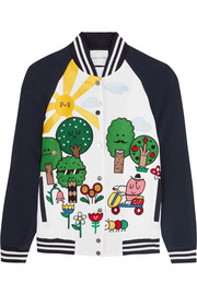 Mira Mikati Happy Forest appliquéd crepe bomber jacket