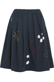 Pleated embroidered cotton-twill skirt