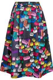 Printed satin-twill skirt