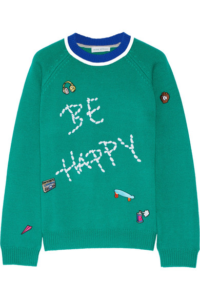 Mira Mikati - Be Happy Embellished Merino Wool Sweater - Forest green