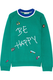 Mira Mikati Be Happy embellished merino wool sweater