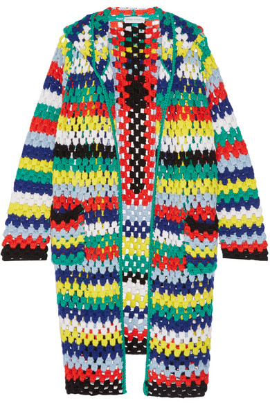 Mira Mikati - Hooded Crocheted Merino Wool Cardigan - Yellow