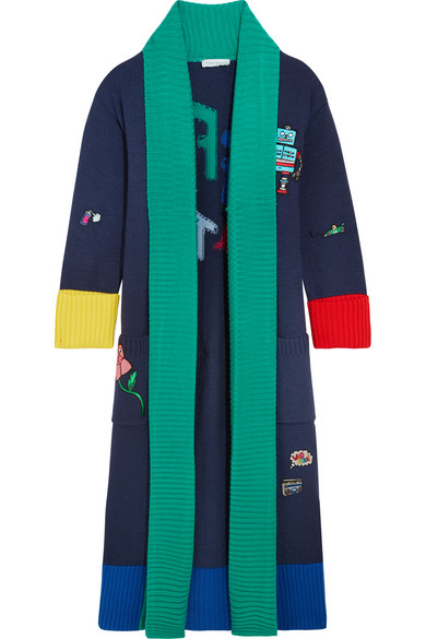 Mira Mikati - Off Duty Appliquéd Intarsia Wool Cardigan - Navy