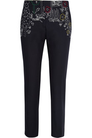 Dot to Dot embroidered cotton-blend twill straight-leg pants