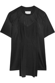 Silk crepe de chine-paneled satin-jersey T-shirt