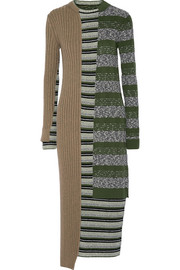 Striped ribbed wool-blend dress