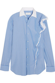 Maison Margiela Ruffled striped cotton-poplin shirt