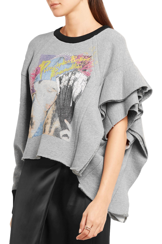 Maison Margiela Ruffled printed wool and cotton-blend jersey sweatshirt