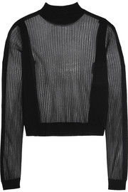 Paneled ribbed wool-blend sweater