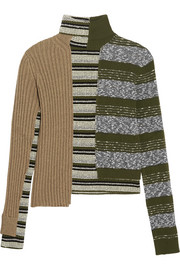 Maison Margiela Striped ribbed wool-blend turtleneck sweater