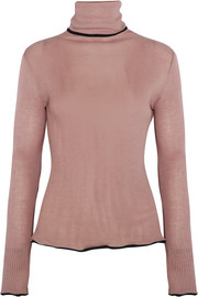 Ruffled ribbed wool and silk-blend turtleneck sweater