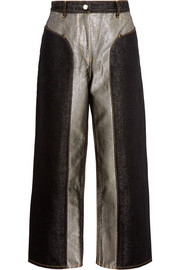 Cropped two-tone metallic high-rise wide-leg jeans