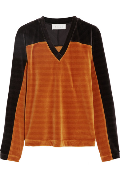 KÉJI - Two-tone Cotton-blend Velvet Sweatshirt - Orange