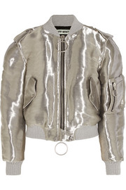 Metallic taffeta bomber jacket