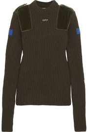 Cotton velvet-paneled ribbed wool sweater