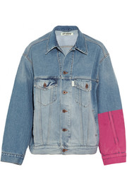 Oversized embroidered flocked denim jacket
