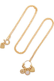 SCOSHA Love Charm gold-plated, diamond and opal necklace