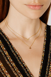 Cat Eye gold-plated, diamond and ruby necklace