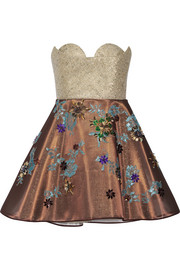 DELPOZO Embellished tulle and metallic tweed mini dress