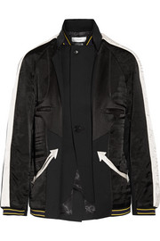 Paneled silk-satin and wool-twill jacket
