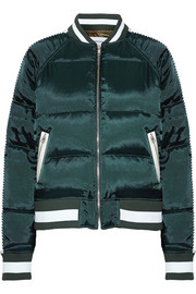 Quilted shell down bomber jacket