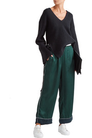 Embroidered satin straight-leg pants
