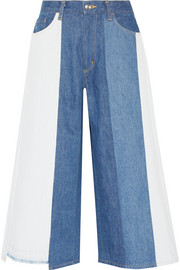 Patchwork mid-rise wide-leg jeans