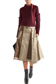 Satin-paneled cotton-twill skirt