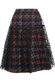 Layered plaid cotton-blend and flocked tulle skirt