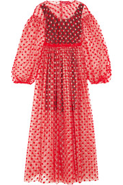 Polka-dot flocked tulle dress