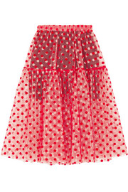 Polka-dot flocked tulle skirt