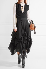 Loewe Tiered washed-satin midi skirt