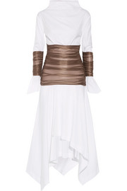 Ruched mesh-paneled cotton-poplin midi dress
