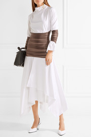 Loewe Ruched mesh-paneled cotton-poplin midi dress