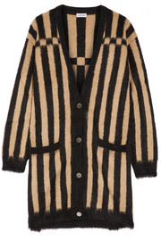 Loewe Oversized striped jacquard-knit mohair-blend cardigan
