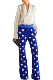 Embroidered wool-blend flared pants