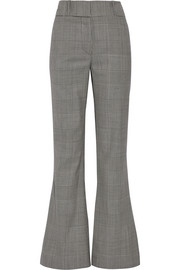 Prince of Wales checked wool flared pants