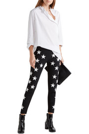 Embroidered stretch-ponte skinny pants