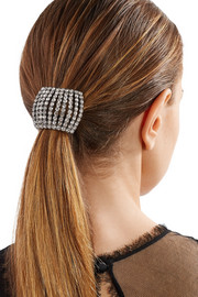 Gunmetal-plated Swarovski crystal hair tie