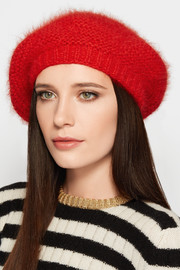 Crocheted angora beret